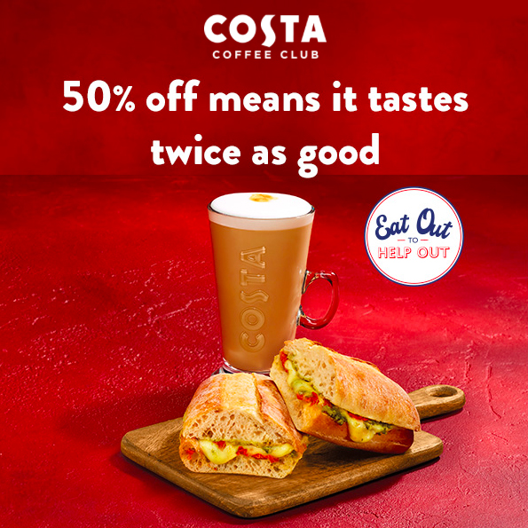 Relax for half price at Costa